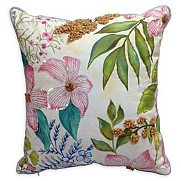 Tropical Floral Indoor/Outdoor Square Throw Pillow in Pink