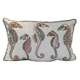 Seahorse Oblong Throw Pillow in Off White/Blue