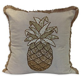 Embroidery Beaded Pineapple Square Throw Pillow in Natural/Gold