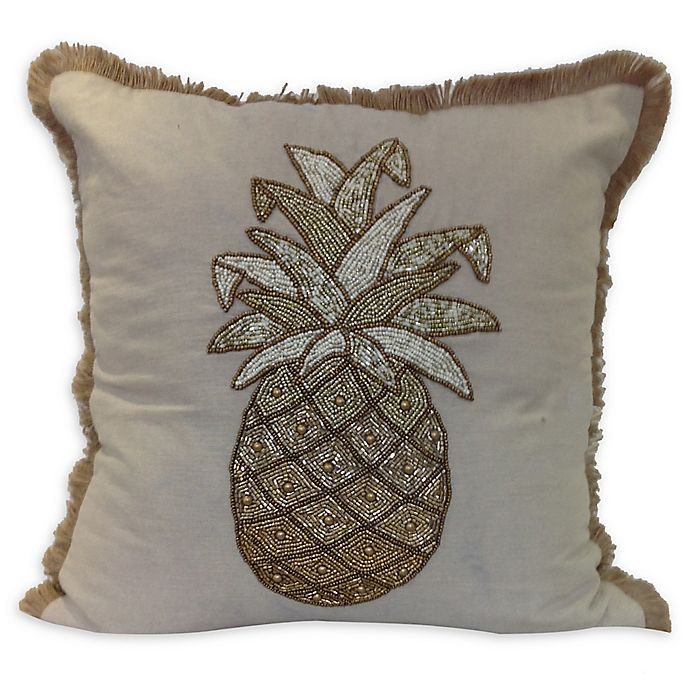 Embroidery Beaded Pineapple Square Throw Pillow In Natural Gold Bed Bath Beyond