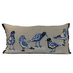 Sandpiper Birds Oblong Throw Pillow in Natural/Blue