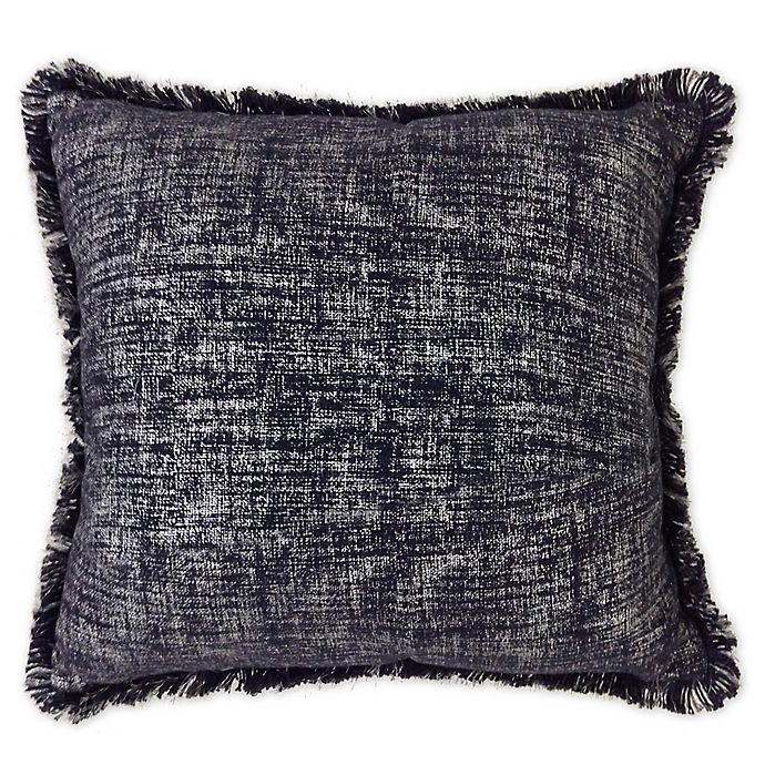 Alternate image 1 for Metallic Fringe Square Indoor/Outdoor Throw Pillow in Navy/Gold