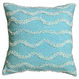 Metallic Waves Square Throw Pillow in Sage