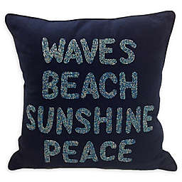 Beach Waves Square Throw Pillow in Navy