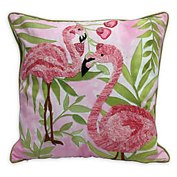 Flamingo Embroidery Indoor/Outdoor Square Throw PIllow in Pink