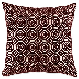 Geo Port Square Throw Pillow in Ivory/Red