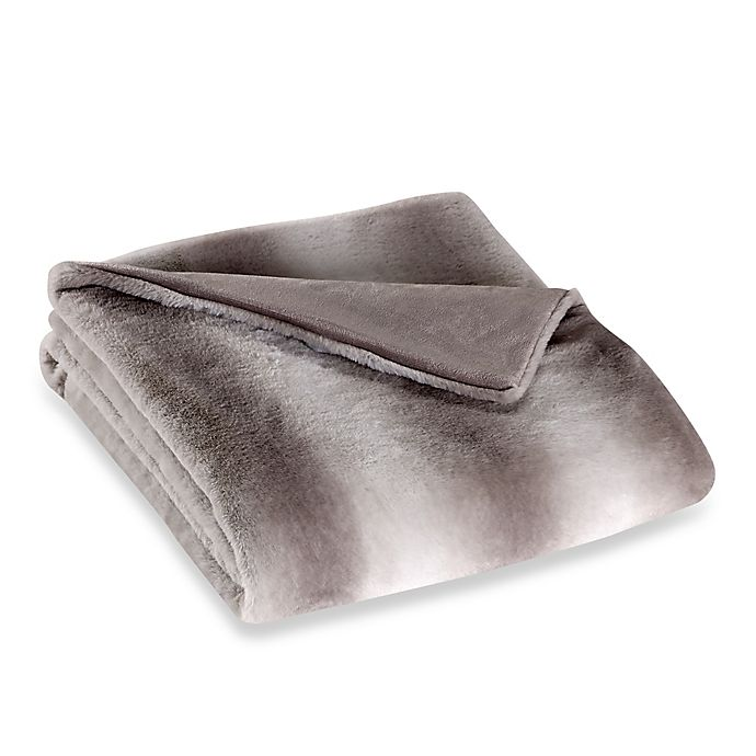 Alternate image 1 for Striped Faux Fur 50-Inch x 70-Inch Throw in Grey