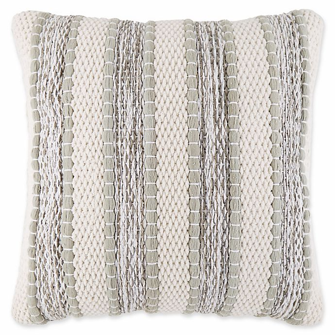 Alternate image 1 for Chenille Stripe Square Throw Pillow in Sage