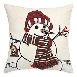 Rizzy Home Snowman Square Throw Pillow in Ivory/Red
