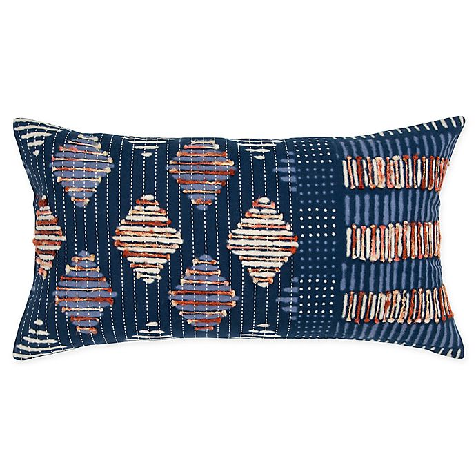Alternate image 1 for Rizzy Home Shibori Oblong Throw Pillow in Indigo
