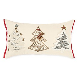 Rizzy Home Tree Trio Oblong Throw Pillow in Natural/Red