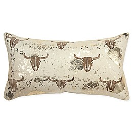 Rizzy Home Cow Skull Oblong Throw Pillow in Natural