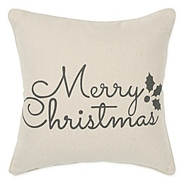 Rizzy Home Holiday Sentiment Square Throw Pillow in Natural