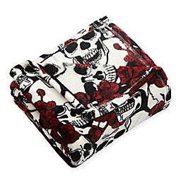 Botanical Skulls Plush Throw Blanket in Red