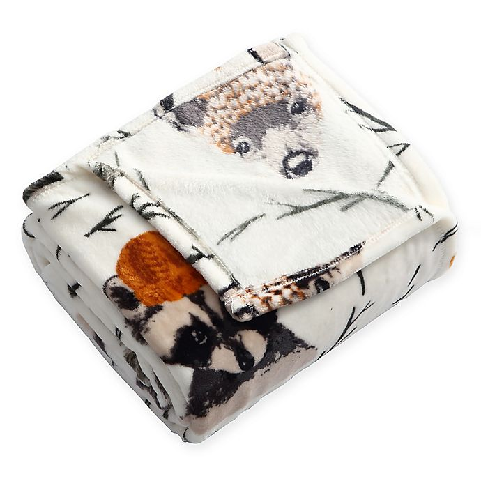 Alternate image 1 for Woodland Critters Plush Throw Blanket in White