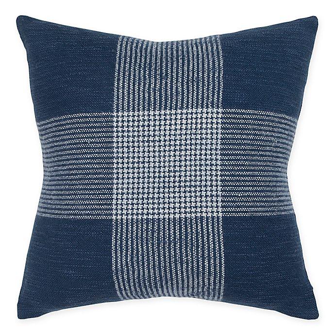 Alternate image 1 for Rizzy Home Woven Plaid Square Throw Pillow in Indigo/White