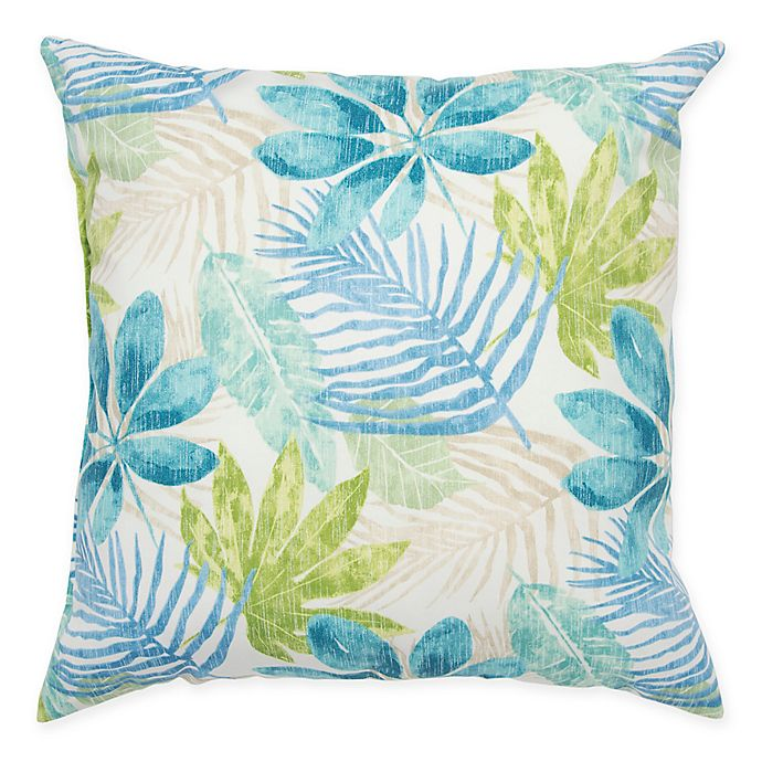 Alternate image 1 for Rizzy Home Floral Square Throw Pillow in Teal