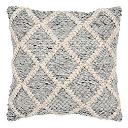 Rizzy Home Chunky Woven Square Throw Pillow in Beige/Grey