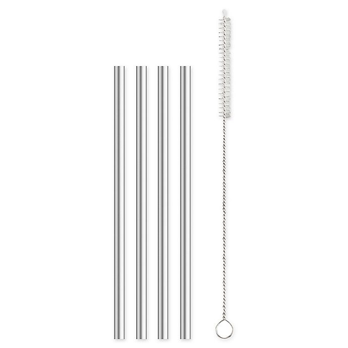 Alternate image 1 for 5-Piece Stainless Steel Cocktail Straw and Brush Set