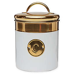 Global Amici Coffee Stainless Steel Canister in White/Gold