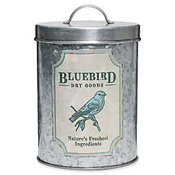 Global Amici Blue Bird Dry Goods Stainless Steel Canister in Galvanized Metal