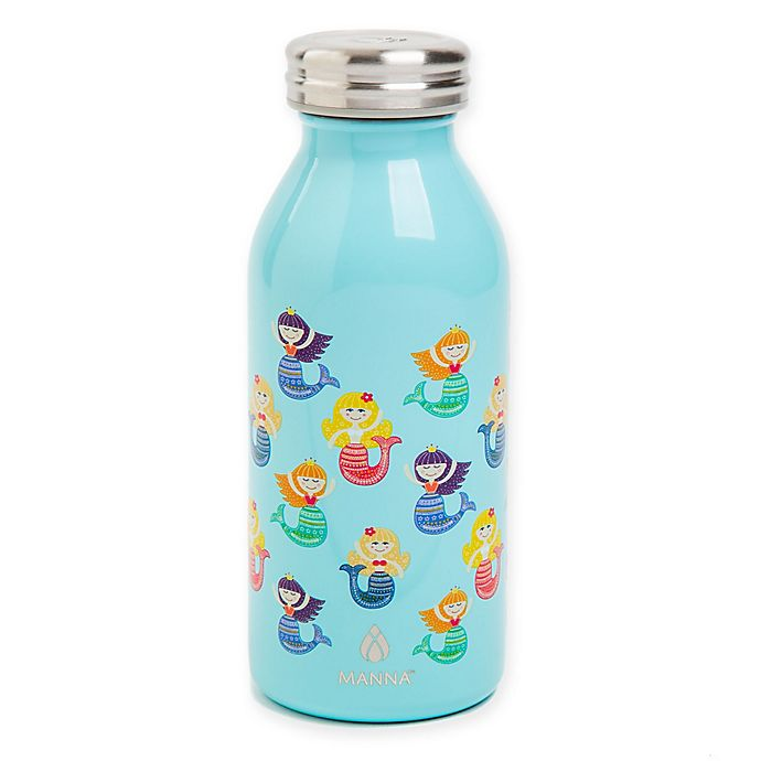 Alternate image 1 for Manna™ Retro Kid's Double Wall Stainless Steel 12 oz. Mermaid Water Bottle