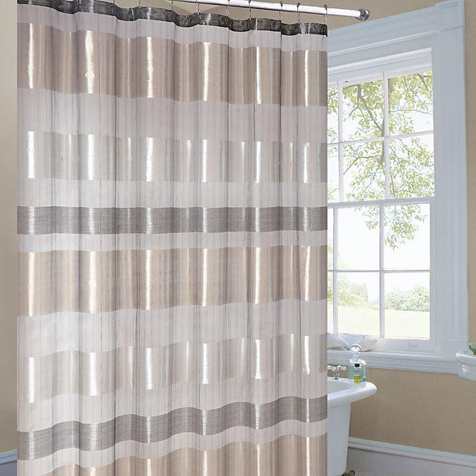 Metallic Striped Gold Fabric Shower Curtain | Bed Bath ...