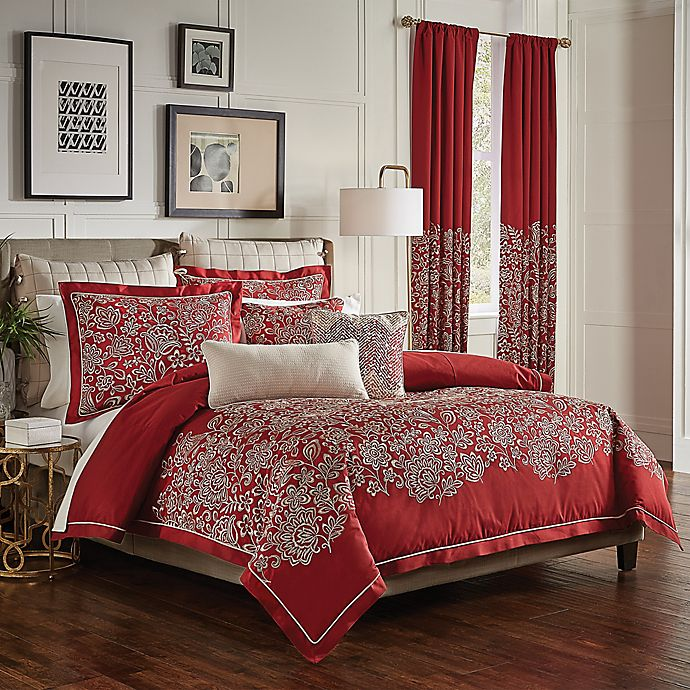 Alternate image 1 for Croscill® Adriel Embroidered Queen Comforter Set in Red