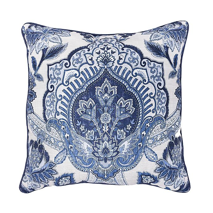 Croscill 169 Leland 18 Inch Square Throw Pillow In Navy Bed