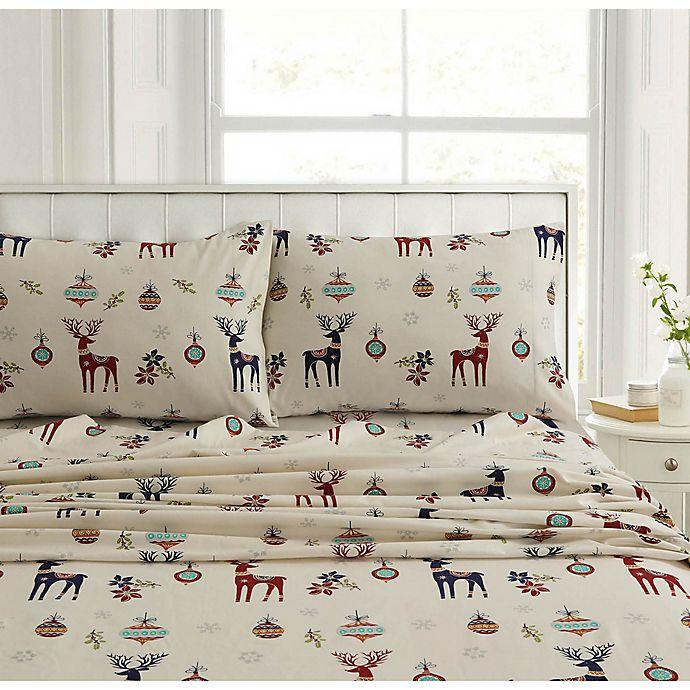 Tribeca Living Reindeer 200 Thread Count Deep Pocket Flannel Sheet Set Bed Bath Beyond