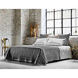 Frette At Home Vertical King Coverlet in Grey