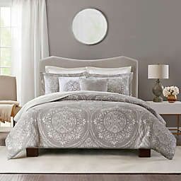 Bridge Street Medallion Matelasse 2-Piece Reversible Twin Duvet Cover Set in Grey
