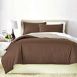 Canadian Living Solid 250-Thread-Count Reversible King Duvet Cover in Brown