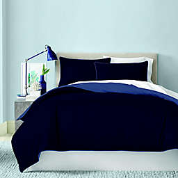Canadian Living Solid 250-Thread-Count Reversible Queen Duvet Cover in Blue