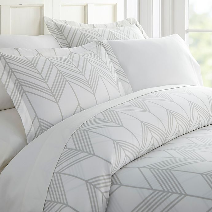 Alps Chevron Full/Queen Duvet Cover Set in Light Grey | Bed Bath