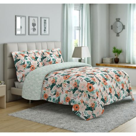 Peach Amp Oak Cambridge Floral Print Reversible Comforter