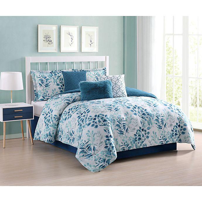 Alternate image 1 for Martina Floral 7-Piece Queen Comforter Set in Aqua