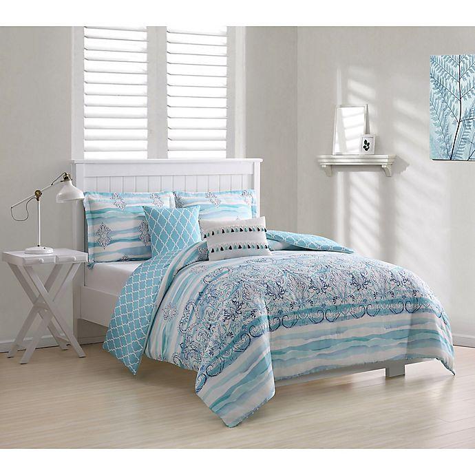 Alternate image 1 for Cascade Damask 5-Piece Queen Comforter Set in Blue