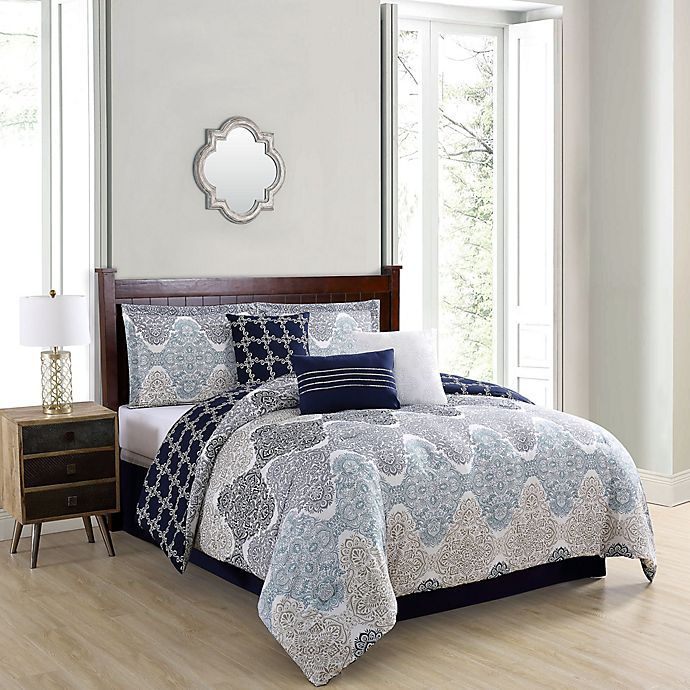 Alternate image 1 for Caspian 7-Piece King Comforter Set in Taupe