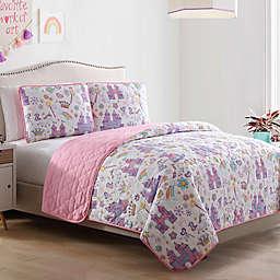 Morgan Home Unicorn/Magic Castle Reversible Quilt Set in Pink/Purple
