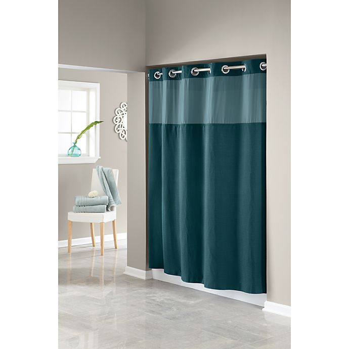 Hookless Waffle Teal 71 Inch W X 74 Inch L Fabric Shower Curtain