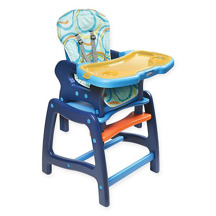 Alternate image 1 for Badger Basket Envee Convertible 2-in-1 High Chair in Blue/Orange