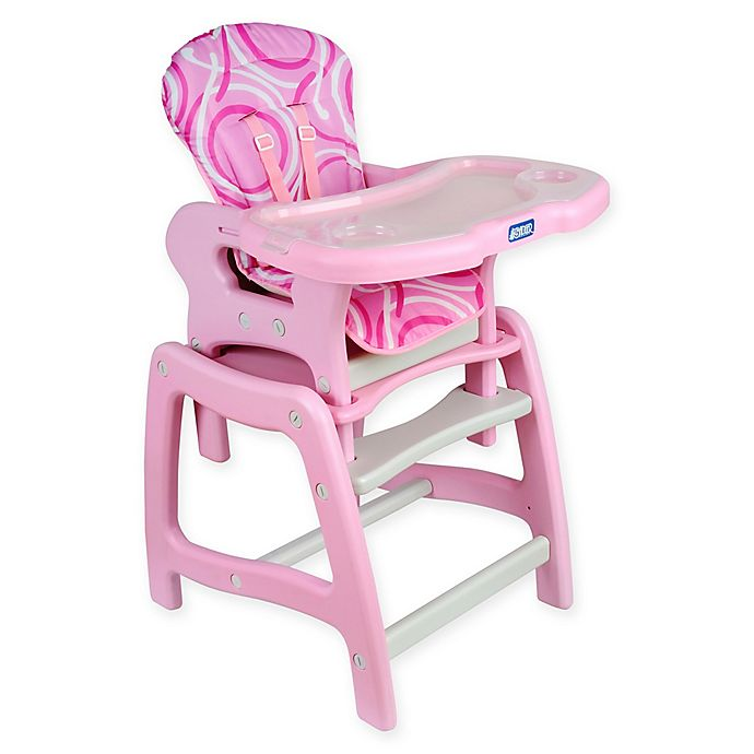 Alternate image 1 for Badger Basket Envee Convertible 2-in-1 High Chair in Pink/White