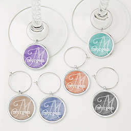 6-Piece Watercolor Name Personalized Wine Charm Set