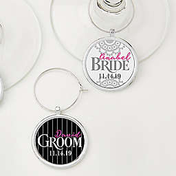 Personalized 2-Piece Bride and Groom Wine Charms Set