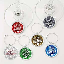 6-Piece Happy Holidays Wine Charm Set.