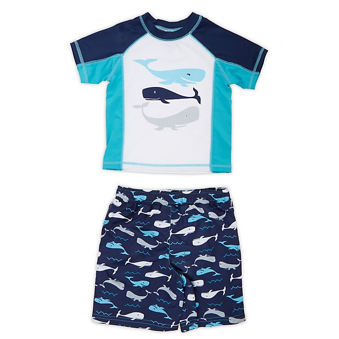 Alternate image 1 for Freestyle Revolution Size 2T 2-Piece Whale of a Tail Rashguard and Swim Trunk Set