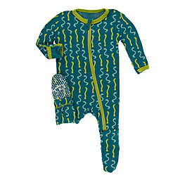 KicKee Pants® Oasis Worms Footie in Blue