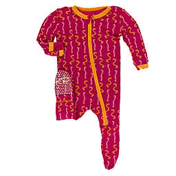 KicKee Pants® Rhododendron Worms Footie in Red