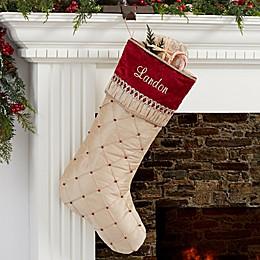 Jeweled Holiday Personalized Tan Christmas Stocking